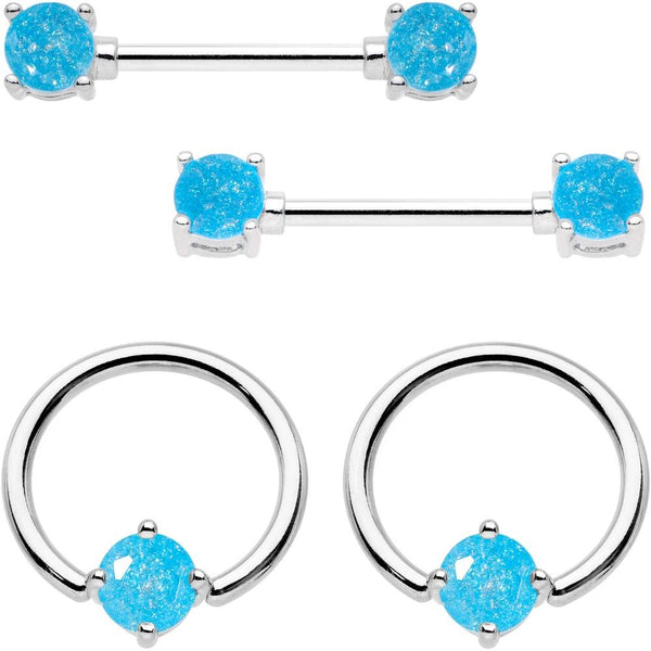 14 Gauge Oceanic Faux Opal BCR Captive Ring Barbell Nipple Ring Set