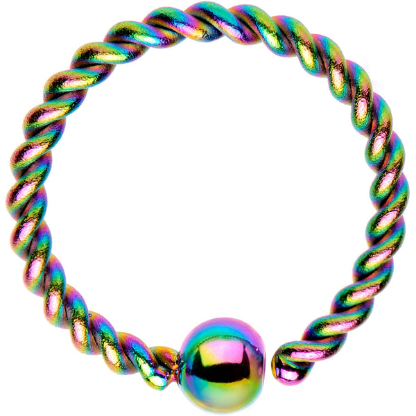 "16 Gauge 3/8"" Rainbow IP So Twisted Captive Style Seamless Ring"