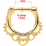 1/4 Clear CZ Gem Gold Tone Anodized Filigree Nipple Clicker Set