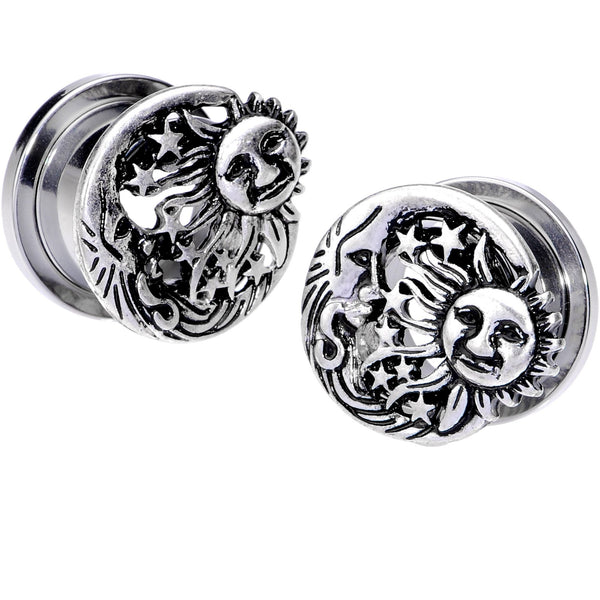 Cosmic Sun and Moon Screw Fit Tunnel Plug Set 6mm to 25mm
