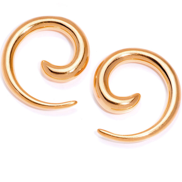 Rose Gold Tone Anodized Titanium Micro Spiral Taper Set 12 Gauge to 8 Gauge