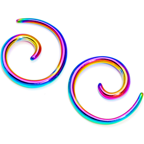 Rainbow Anodized Titanium Micro Spiral Taper Set 12 Gauge to 8 Gauge