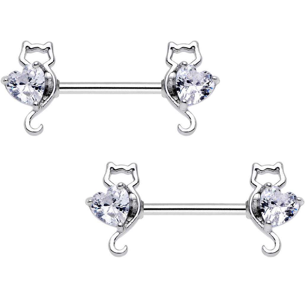 "14 Gauge 9/16"" Kitty Cat Paws Barbell Nipple Ring Set"