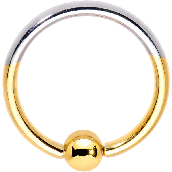 16 Gauge 3/8 Gold Tone Two Tone BCR Captive Ring