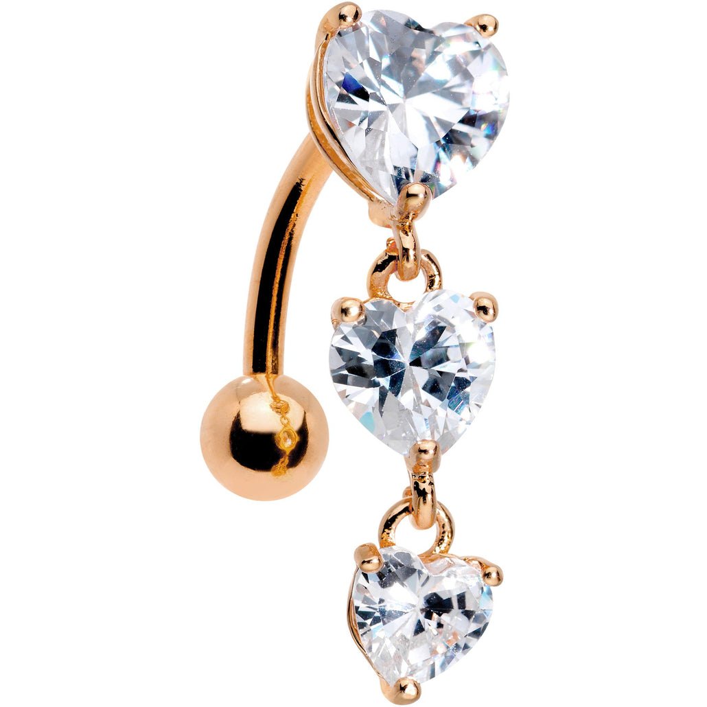 Clear CZ Gem Rose Gold Plated Tri Heart Top Mount Dangle Belly Ring