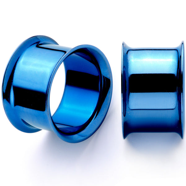 Blue Anodized Steel Double Flare Tunnel Plug Set 4mm to 16mm