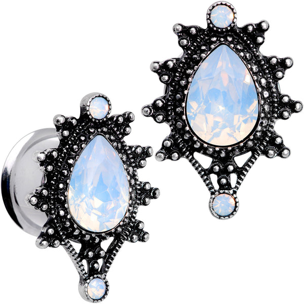 White Faux Opal Filigree Framed Double Flare Plug Set 6mm  to 12mm