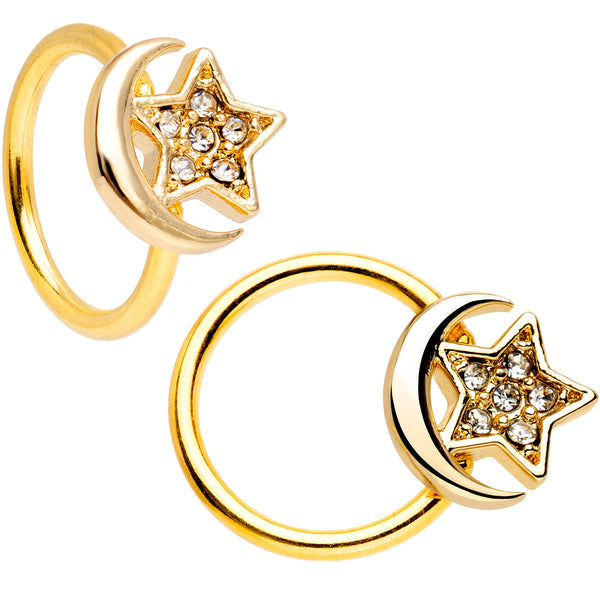 16 Gauge 3/8 Gem Golden Night Sky Horseshoe BCR Captive Ring Set