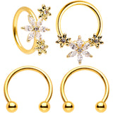 16 Gauge 3/8 Clear CZ Gem Gold Tone Fun Flowers Horseshoe BCR Captive Ring Set