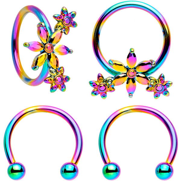 16 Gauge 3/8 Rainbow Flower Power Horseshoe BCR Captive Ring Set