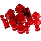 Solid Red Stone Saddle Plug Set 6mm to 25mm