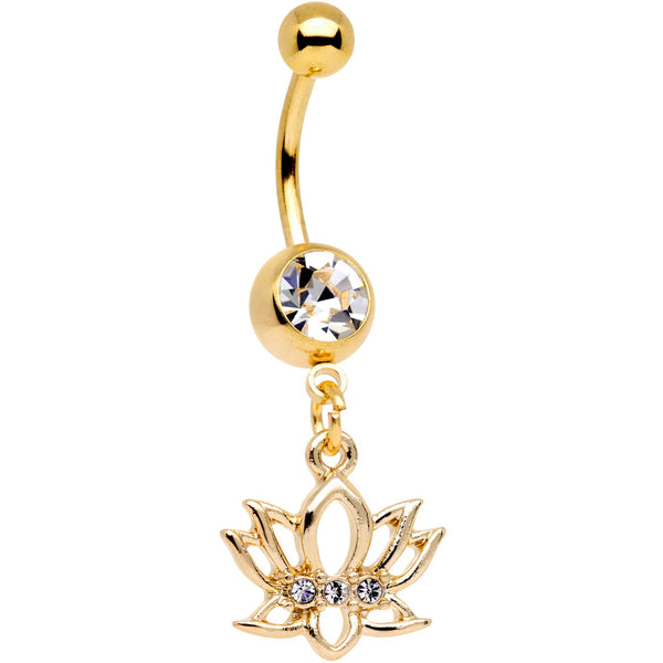 Clear Gem Gold Tone Luck Be a Lotus Flower Dangle Belly Ring