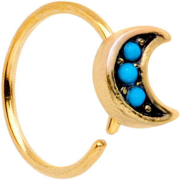 20 Gauge 5/16 Blue Orb Gold Tone Crescent Moon Seamless Circular Ring