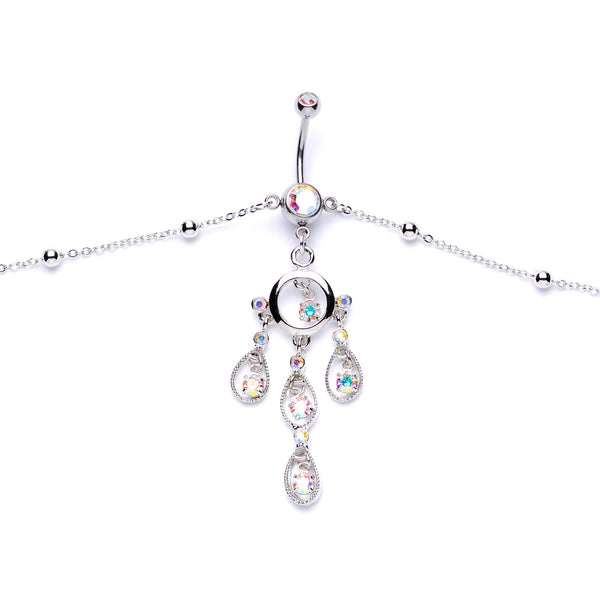 Aurora Gem Dancing Queen Chandelier Dangle Belly Ring Belly Chain