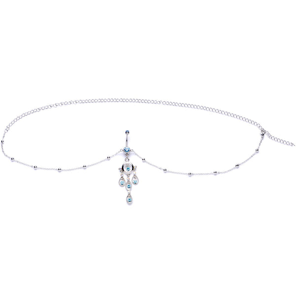 d4bf5dab108 Aqua Gem Dancing Queen Chandelier Dangle Belly Ring Belly Chain