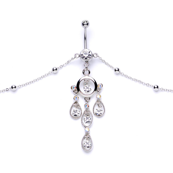 Clear Gem Dancing Queen Chandelier Dangle Belly Ring Belly Chain