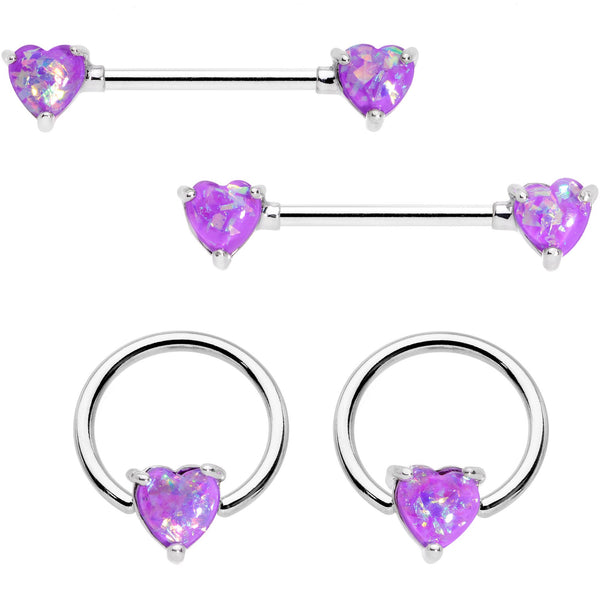 14 Gauge Purple Faux Opal Heart BCR Barbell Nipple Ring Set of 4