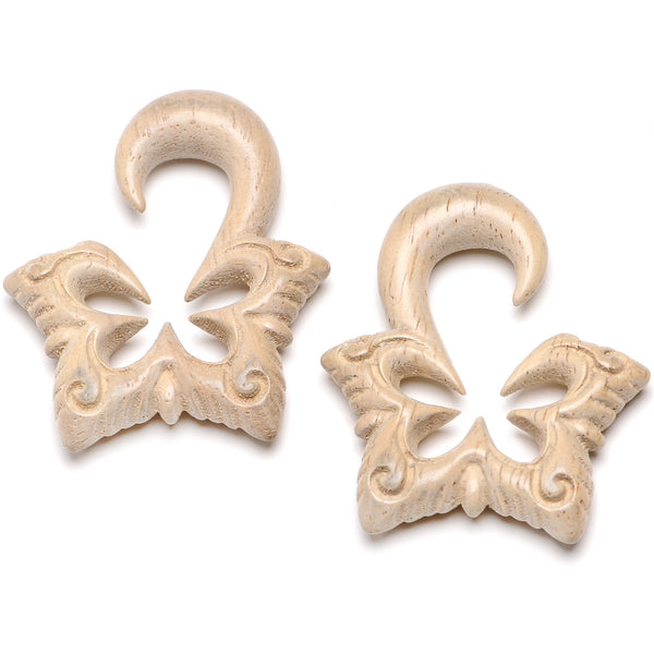 Organic Hand Carved Wood Lotus Flower Butterfly Hanger Plug Set 4mm to 10mm