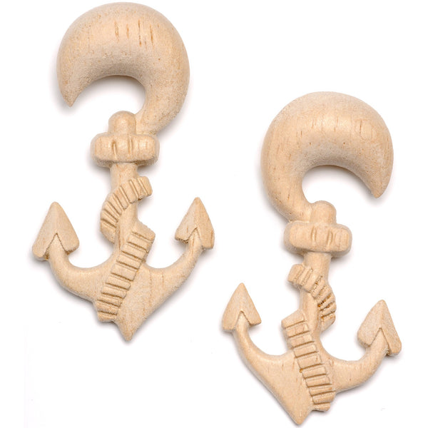 Organic Hand Carved Wood Nautical Anchor Hanger Plug Set 4mm to 10mm