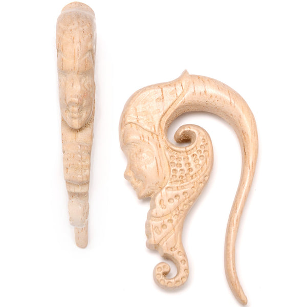 Hand Carved Wood Forest Nymph Hanger Plug Set 6mm to 18mm