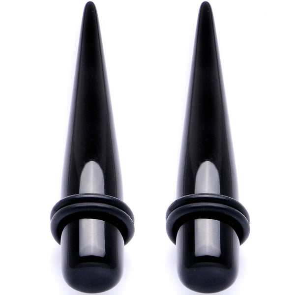 Lightweight Black Acrylic Straight Taper Set 10mm to 25mm
