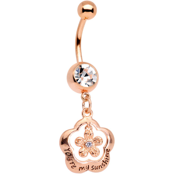Clear Gem Rose Gold Tone Youre My Sunshine Flower Dangle Belly Ring