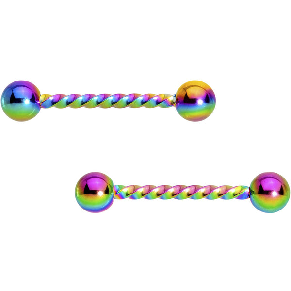 14 Gauge 5/8 Rainbow Twisted Barbell Nipple Ring Set