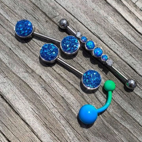 14 Gauge 9/16 Blue Synthetic Druzy Bodacious Barbell Nipple Ring Set