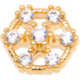 14 Gauge Clear Gem Gold Tone Externally Threaded Dermal Anchor Top