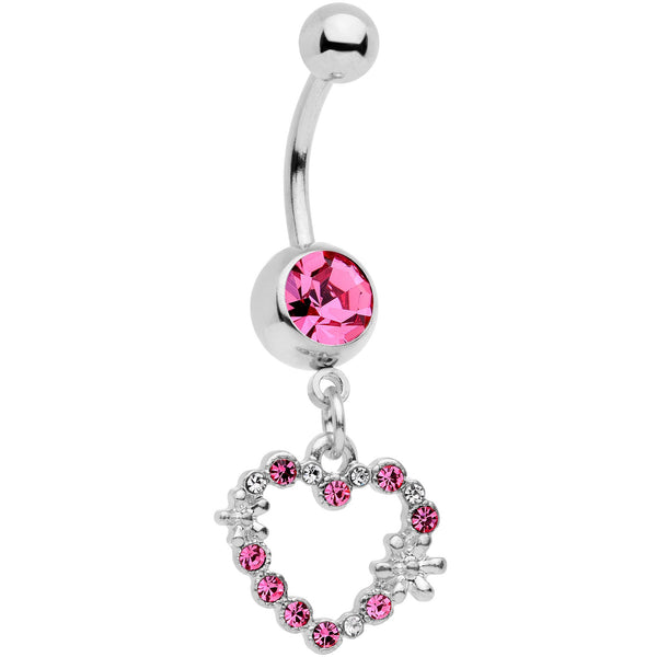 Clear Pink Gem Valentine Flower Burst Heart Dangle Belly Ring