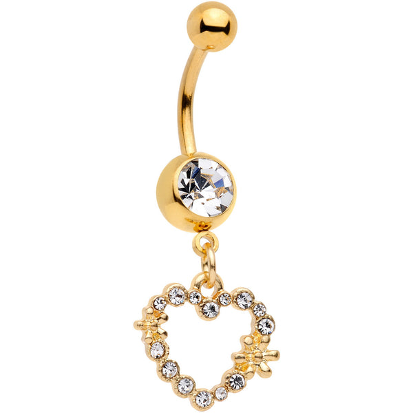 14 Gauge 7/16 Clear Gem Gold Tone Heart Dangle Belly Ring