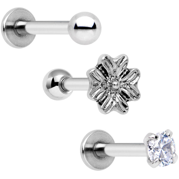 "16 Gauge 1/4"" Clear Gem Flowers Cartilage Tragus Earring Set of 3"