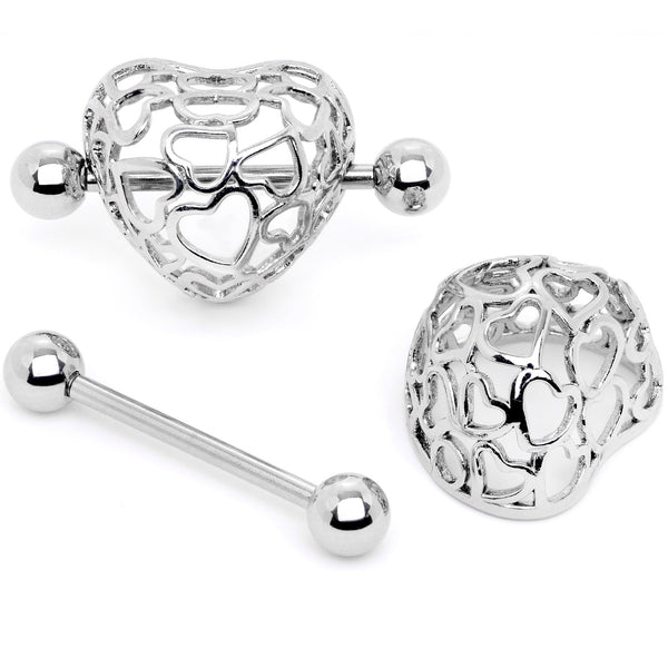 14 Gauge 9/16 Love in a Beautiful Cage Nipple Shield Set