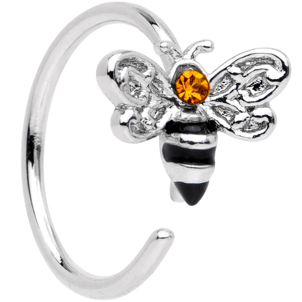 20 Gauge 5/16 Yellow Gem Bumble Bee Seamless Circular Ring