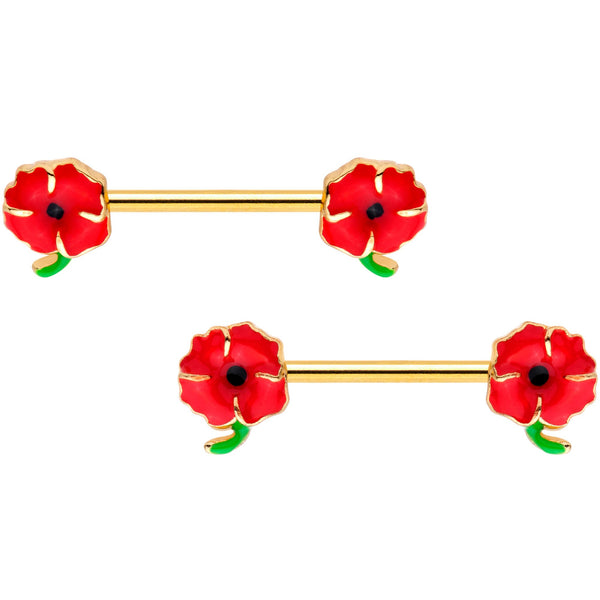 14 Gauge 9/16 Gold Tone Field of Poppies Barbell Nipple Ring Set