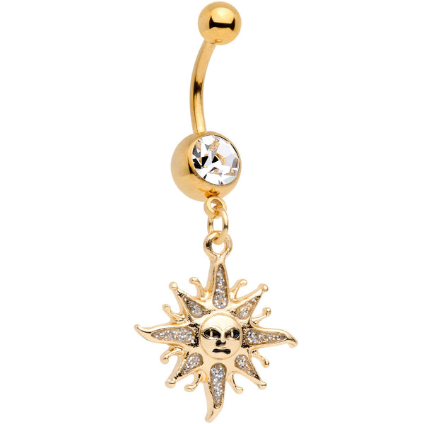 Clear Gem Gold Tone Celestial Sun Dangle Belly Ring