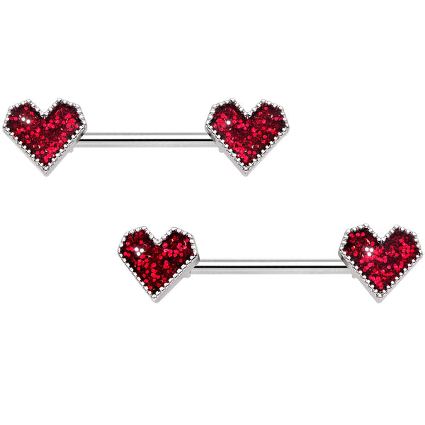 14 Gauge 9/16 Red Valentine Heart Barbell Nipple Ring Set