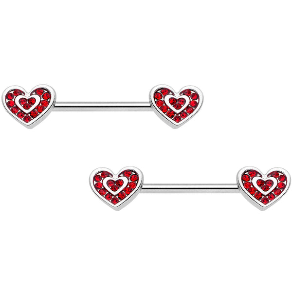 "14 Gauge 5/8"" Red Gem Wrapped Hearts Barbell Nipple Ring Set"