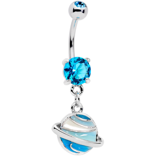 Aqua Gem Rings Of Saturn Dangle Belly Ring