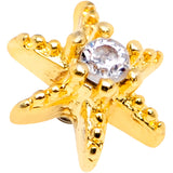 14 Gauge Clear CZ Gem Gold Tone Starfish Dermal Anchor Top