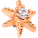 14 Gauge Clear CZ Gem Rose Gold Tone Starfish Dermal Anchor Top