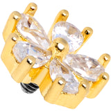 14 Gauge Clear CZ Gem Lovely Bloom Gold Tone Dermal Anchor Top