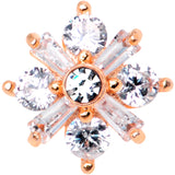 14 Gauge Clear CZ Gem Ice Princess Rose Gold Tone Dermal Anchor Top