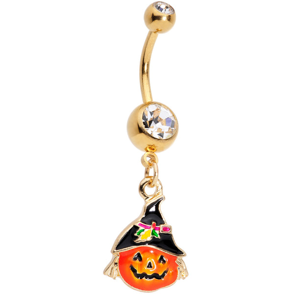Clear Gem Gold PVD Jolly Jack O Lantern Belly Ring