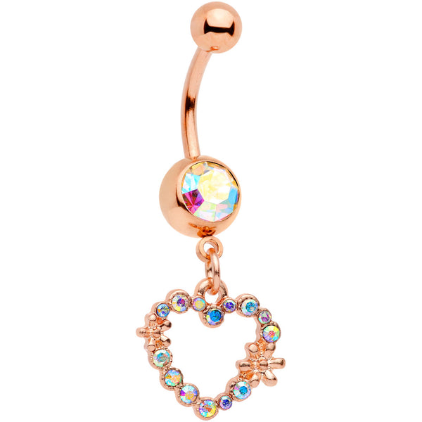 Aurora Gem Rose Gold Tone Heart Dangle Belly Ring