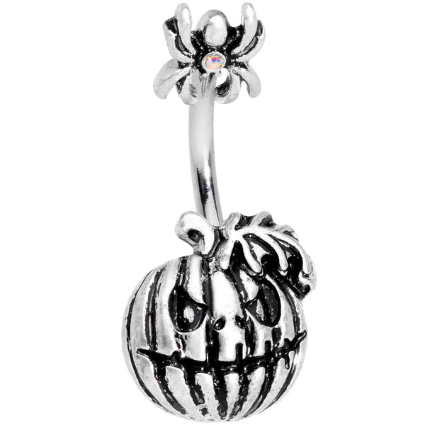 Scary Spider Jack O Lantern Double Mount Belly Ring