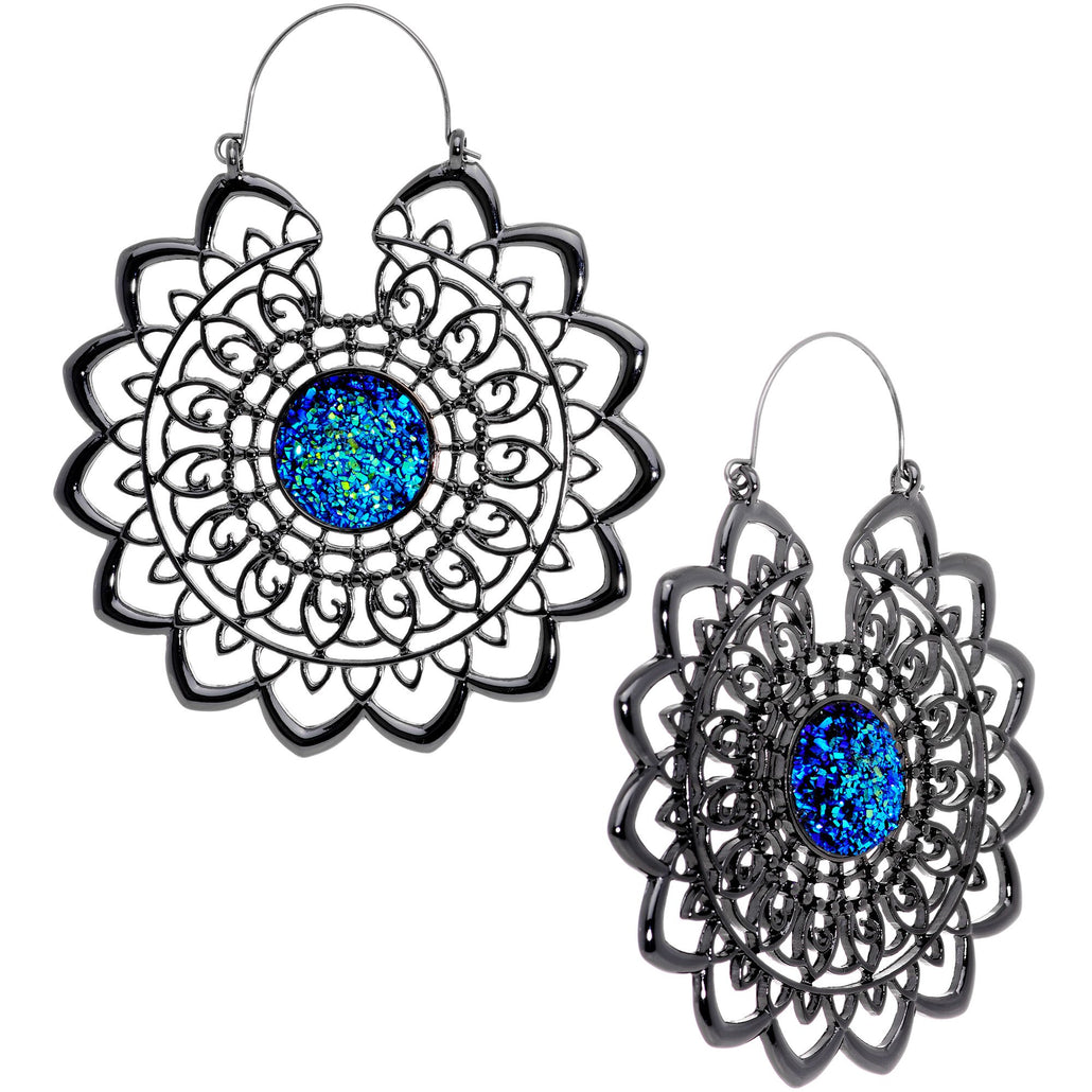 Blue Faux Druzy Black Serenity Mandala Tunnel Plug Earrings