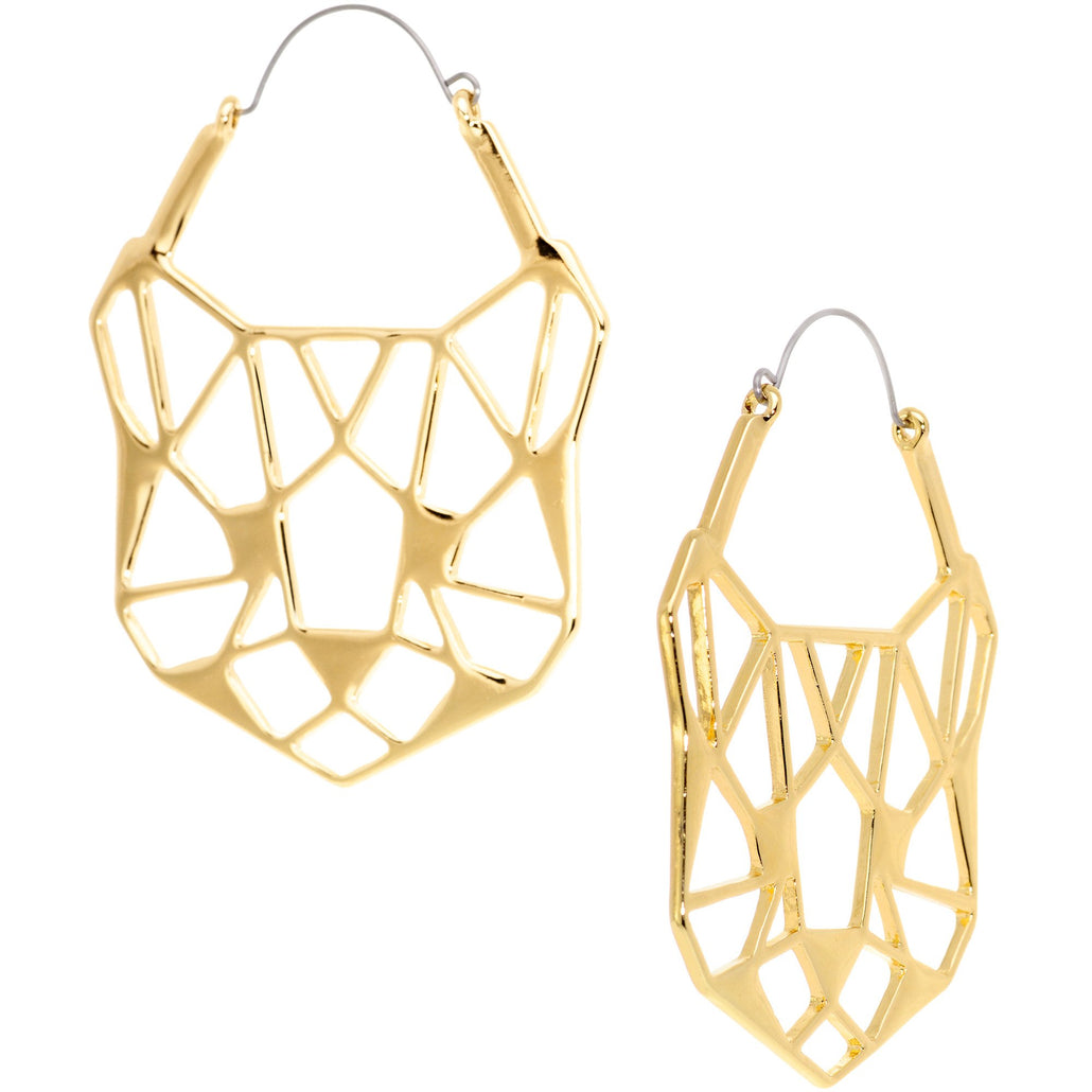 Gold Tone Geometric Cut Out Cat Panther Tunnel Plug Earrings