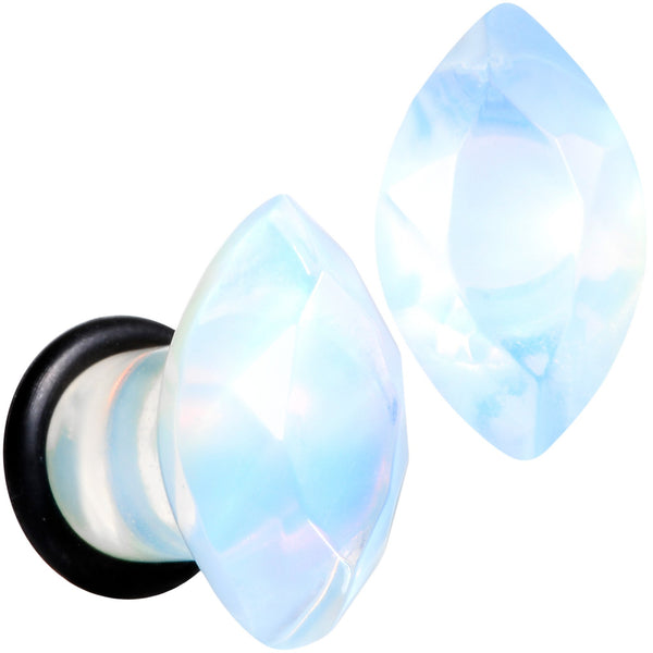 White Opalite Faceted Single Flare Plug Set 6mm to 25mm