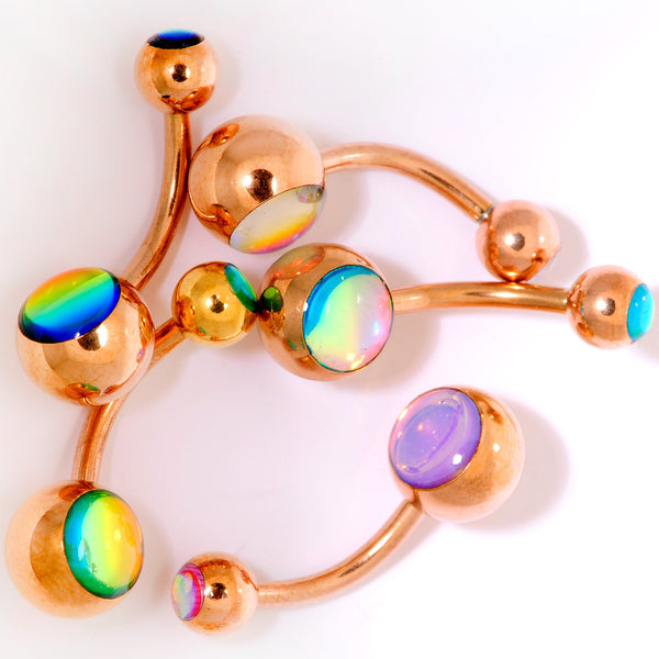 Iridescent Gem Rose Gold Tone Captivating Colors Belly Ring Set Of 5
